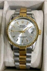 Men's Rolex DateJust Steel & Gold Champagne Dial Watch