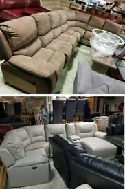 Grey leather corner sofa electric recliner