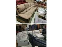Grey leather corner sofa electric recliner