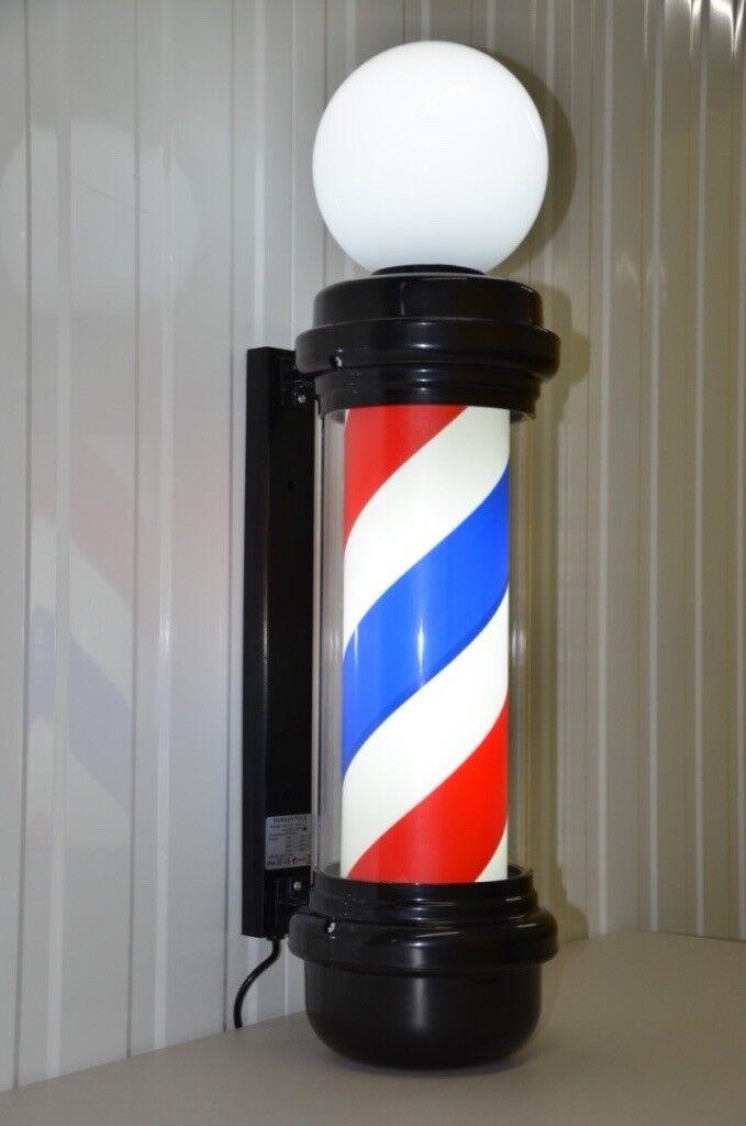 Globe Black Barber Pole LED With Top Led Light Pole Salon Sign Light With Black Frame