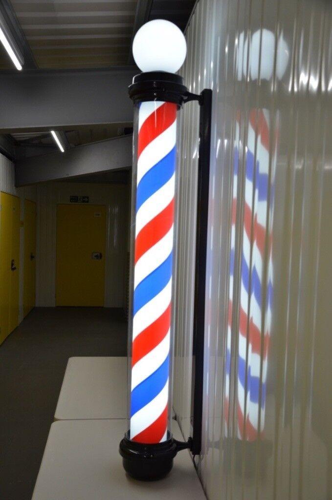 Globe Black Pole Led illumitated Rotating stripe salon Sing 1.8 cm 3 colour For Barber shops