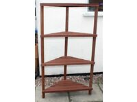 FLOOR STANDING WOODEN PLANT STAND - CORNER SHELF - SUITABLE FOR GARDEN OR GREENHOUSE