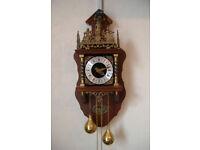 Dutch manufactured, Zaanse eight day, single chime, pendulum, weight driven, vintage wall clock.