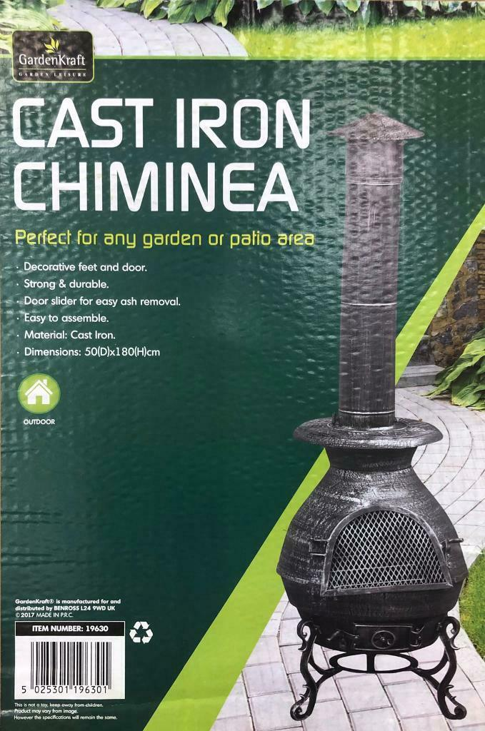 Gardenkraft Large 19630 Cast Iron Chiminea Fire Pit And