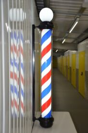 Globe Black Pole Led illuminated Rotating stripe salon Sing 1.8 cm 3 colour For Barber shops