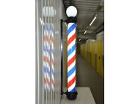 Globe Black Pole Led illuminated Rotating stripe salon Sing 1.8 cm 3 colour For Barber shops