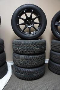 2007-2013 MINI COOPER BRAND NEW BLACK ALLOY WHEEL AND GISLAVED SNOW TIRE PACKAGE 195/55R16