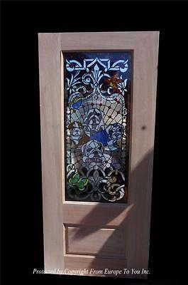 CUSTOM HAND MADE BULL DOG STAINED GLASS ENTRY ESTATE DOOR - CD2