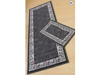 LEAF BORDER DESIGN RUNNER & MAT Rrp £38 67cm X 180cm