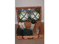 WICKER PICNIC BASKET FOR SALE - 4 place settings