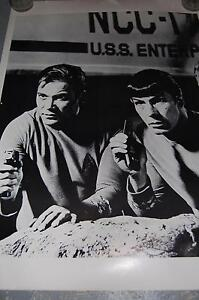 Vintage Black and White Star Trek poster with Mr. Spock and Kirk