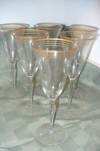 6 Gold-trim antique crystal wine glasses