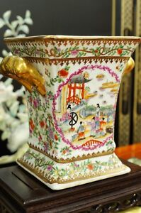 Vintage Rose Canton Design Hand Painted 22k Gold Gilt Porcelain Pot Planter