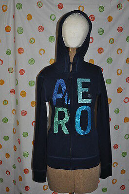 Aeropostale S/p Junior Womens Medium Zip Up Navy Blue Hoodie Jacket