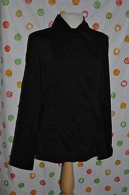 Eccoci Size 12 Michelle Black Button Down Ls Cotton Blend Top Blouse $$$$