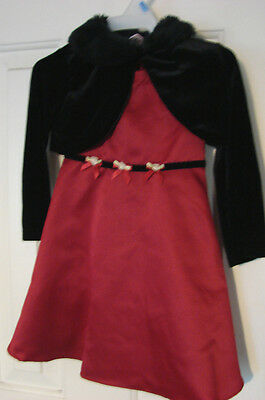 3 Pc Red And Black Dress W/jacket Bottoms Infant Sz 24 Months Wedding Christmas