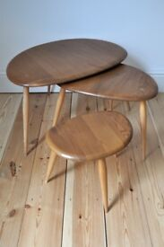 Vintage Retro 60's Ercol Nest of Pebble Coffee / Side Tables Light Finish