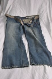 """New Faded Blue bootcut-style men's jeans / 38"""" waist / 30"""" leg - with belt. £10"""