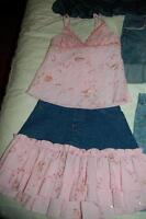 Jean Skirt with matching pink top Size 12 GIRLS