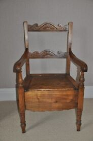 "Antique Wooden ""Commode"" Chair"