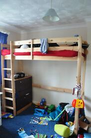kids high bed wooden frame for sale
