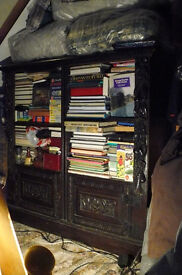 Antique bookcases. Oak, heavily carved pair of open bookcases, Victorian.