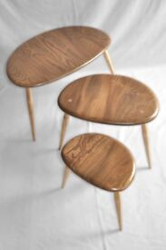 Vintage Retro 60's Ercol Nest of Pebble Coffee / Side Tables Light Finish - As New Fully Renovated