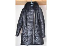 Black Faux leather down coat Straight fit 3/4 length - Size XL but fits like an L