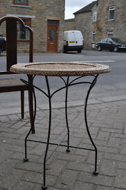 wrought iron wicker top bistro table