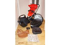 Red and black Quinny Buzz pushchair 3 in 1