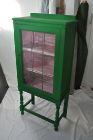 ***Vintage Wooden display cabinet with leaded glass door Upcycled***