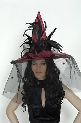 Hexenhut rot / schwarz mit Feder Hut Hexe - Federn Hexe Hut Schwarz