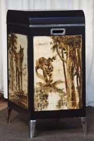 Vintage unique hand painted tiger design storage, drinks cabinet, sewing station unit. WILL DELIVER