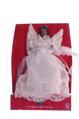 Christmas ANGEL Tree Topper Black African American Lighted 10 Clear Lights NEW