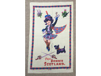 Vintage kitsch cotton colourful souvenir Daneshaw tea towel 'Frae Bonnie Scotland'; tartan; thistles