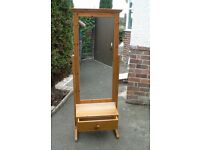 Solid pine free standing mirror with drawer