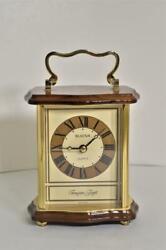 Vintage Bulova Desk or Table Brass Wood Quartz Clock Made in Germany B235