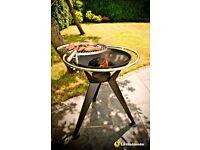 La Hacienda Olivera Fire Pit & BBQ Grill, BRAND NEW IN BOX. 68cm diameter grill area, 76cm height