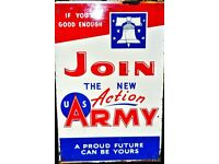 DOUBLE SIDED ENAMEL SIGN OF FOR JOINING THE U.S. ARMY IN SUPERB CONDITION FOR AGE