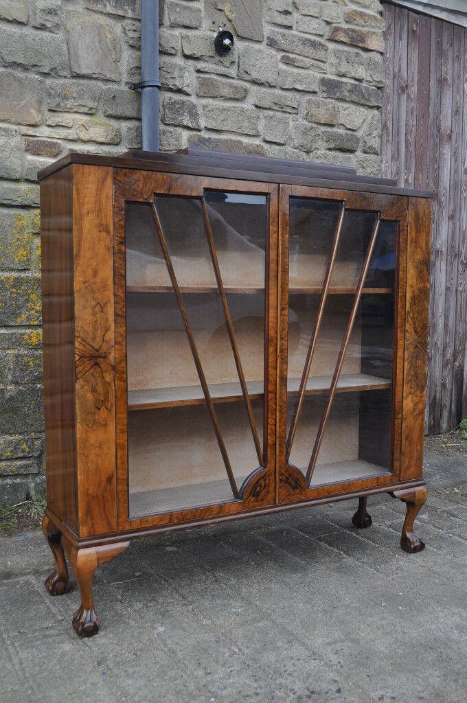 vintage walnut burr art deco china cabinet
