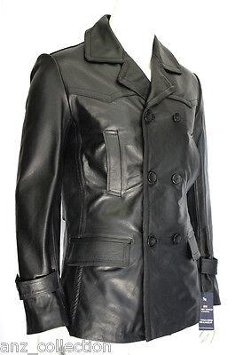 Adam Classic German U Boat Military Style Black Real Hide Leather Jacket Coat