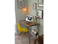 Industrial Desk & Chair Mid Century Modern Style hairpin leg table