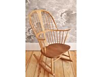 Vintage Retro 60's Ercol Chairmakers Rocker Rocking Chair in Light Finish