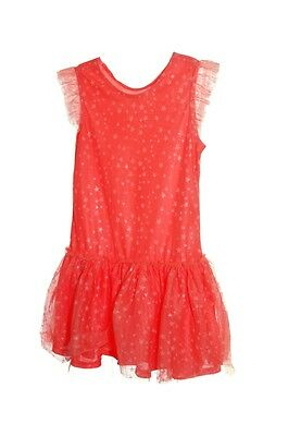 TCP The Childrens Place Hot Orange Salmon Stars Tulle Dress Size 10 12 Lg NEW