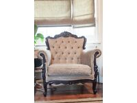 Vintage buttoned Louis XVI-style Armchair - Needs Re-upholstery
