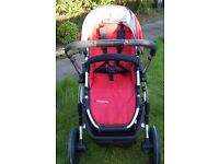 Uppababy Vista Pram & Pushchair system - with Maxi Cosi Car seat & Family Fix base (Red)