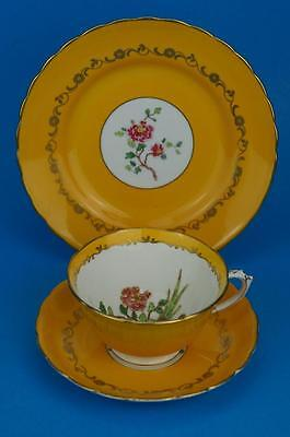 Stunning ART DECO Yellow TUSCAN Trio Cup Saucer Plate Hand Painted BIRD & FLOWER