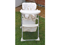 Mothercare adjustable high chair with tray and large storage basket