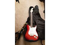 Fender Squier Strat Candy Apple Red, Custom Action, Very Good Condition and Micro Cube Amp