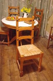 LOWER PRICE! 4 rush-seated tall pine ladderback chairs